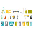 construction tools and waste bins set vector image