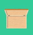 open wooden box top view isolated casket vector image