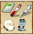 Scientific chemistry experiments with sheep vector image