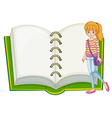 A girl and a blank notebook vector image vector image