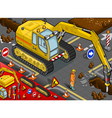 Isometric Chisel Excavator in Front View vector image