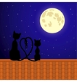 Cats sitting on the roof and stare at moon vector image