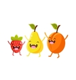 Strawberry Pear And Plum Cartoon Friends vector image