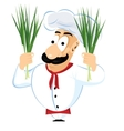 chef holding green onion vector image