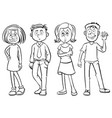 doodles characters for happy men and women vector image