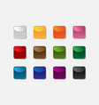 group of square buttons of different colors vector image