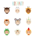 Kids Party Outfit Children in Animal Carnival vector image