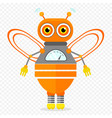 orange friendly cartoon bee robot character vector image