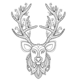 Patterned Deer Head with Big Antlers vector image