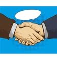 Businessmen shake hands in vector image