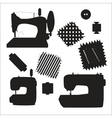 Sewing machines kit black silhouette vector image vector image