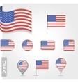 USA flag icon set vector image