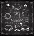 Wedding graphic set with wreaths and ribbons vector image