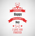 Valentine retro poster with red ribbons template vector image