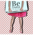 Pop art  Woman legs and shopping box vector image