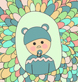 Baby Shower Card Little Cute Boy in Hat with Ears vector image