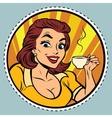 Comic young beautiful woman drinking coffee vector image