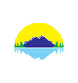 landscaping mountain sunset logo vector image