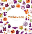 Halloween Card Set of Bright Signs Icons and vector image