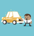 New a car is yellow of African Businessman happy vector image vector image
