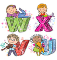 Funny alphabet with kids VWXU vector image