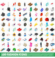 100 fashion icons set isometric 3d style vector image