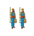 African and caucasian woman builder with vector image