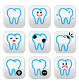 Tooth teeth icons set in color vector image
