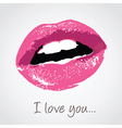 pink lips with love message vector image vector image