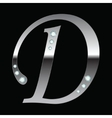 silver metallic letter D vector image