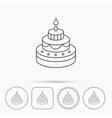 Cake icon Birthday delicious dessert sign vector image