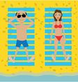 holidaymakers sunbathe on the beach vector image