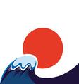 japan sun and tsunami symbol vector image