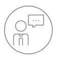 Man with speech square line icon vector image
