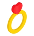 Ring with heart isometric 3d icon vector image