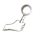 sketch hand holding magnifier vintage icon vector image