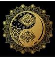 Yin and Yang boho mandala symbol vector image