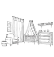 Hand drawn childrens room Furniture sketch vector image