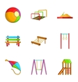 Attractions for children icons set cartoon style vector image