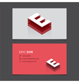 business card letter E vector image