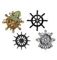 Octopus ans ship steering wheels vector image vector image