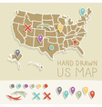 Retro handdrawn US map travel vector image