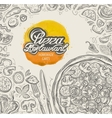 hand drawn pizza restaurant sketch and food vector image