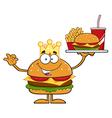 King Hamburger Cartoon vector image vector image