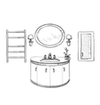 Bathroom interior sketch Hand drawn washbasin vector image