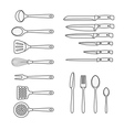 Different kitchen accessory isolated on whit vector image