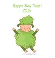 funny green sheep symbol 2015 year vector image