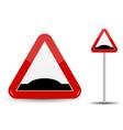 Road sign warning sleeping policeman in red vector image