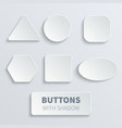 white 3d blank square and rounded button vector image