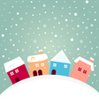 Colorful winter houses on hill with snowing behind vector image vector image